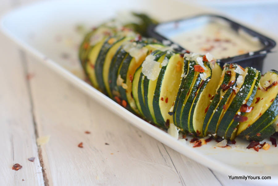 BAKED HASSELBACK ZUCCHINI WITH GARLIC - Yummily Yours'