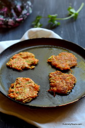 Veg Pakoda or Indian fritters made on a skillet, a perfect tea time snack